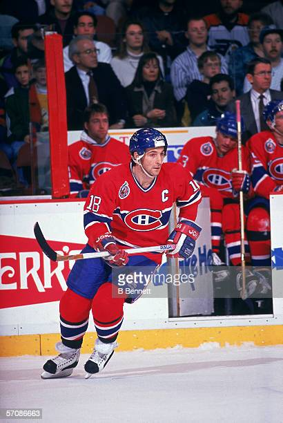 Canadian professional hockey player Denis Savard of the Montreal Canadiens skates on the ice during a game against the Philadelphia Flyers the...