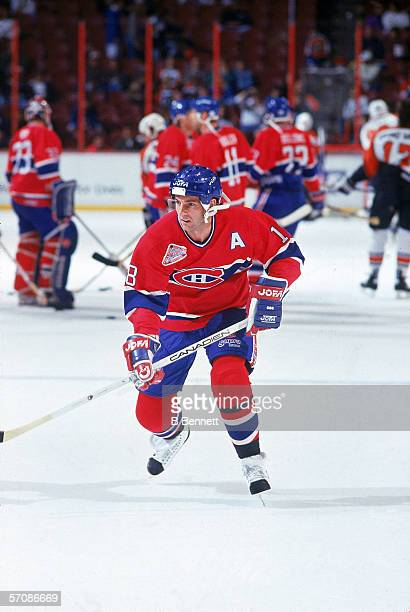 Canadian professional hockey player Denis Savard of the Montreal Canadiens skates on the ice during warmups before a game against the Philadelphia...