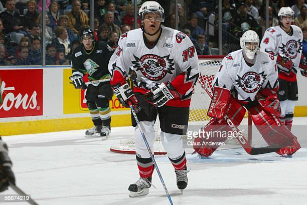 Canadian professional hockey player Derek Joslin , # 77 of the OHL's Ottawa 67's, skates on the ice during a home game against the London Knights,...