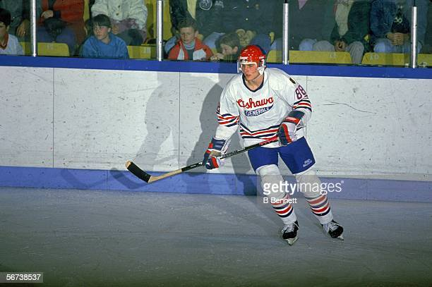 Canadian professional hockey player Eric Lindros skates on the ice in a home game during his minor league days with the OHL's Oshawa Generals Oshawa...