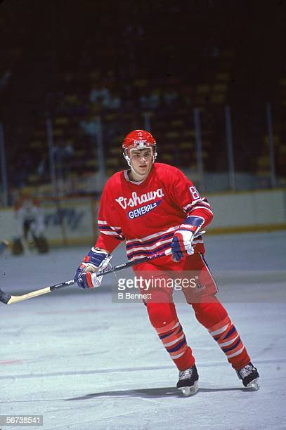 Canadian professional hockey player Eric Lindros skates on the ice in a game during his minor league days with the OHL's Oshawa Generals early 1990s
