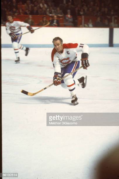 Canadian professional hockey player Henri Richard of the Montreal Canadiens skates on the ice during a home game Montreal Forum Montreal Quebec early...