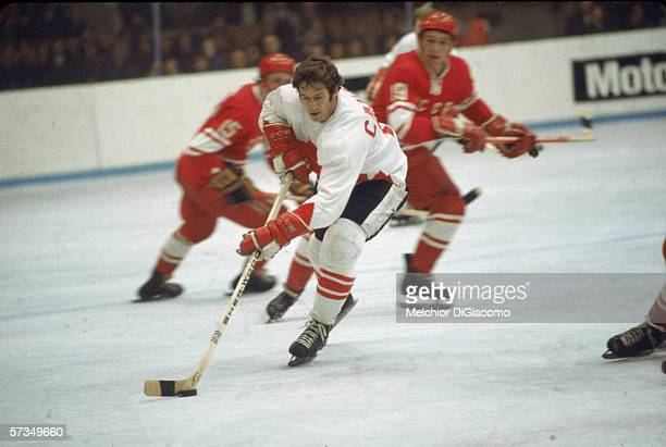 Canadian professional hockey player Jean Ratelle of Team Canada in control of the puck during a game at the 1972 Summit Series against the Soviet...