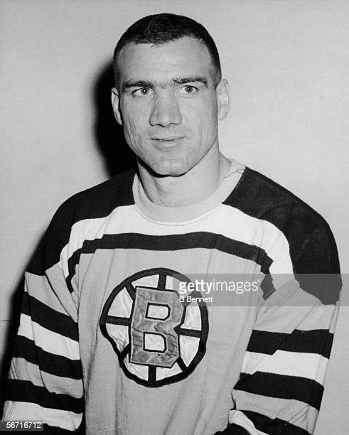 Canadian professional hockey player Jerry Toppazzini of the Boston Bruins poses for a portrait mid 20th Century