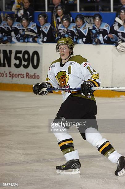 Canadian professional hockey player John DeGray of the OHL's Brampton Battalion skates on the ice during a game against the Toronto St Michael's...