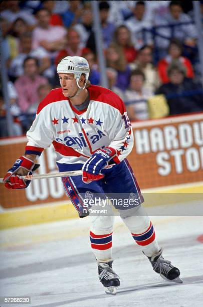 Canadian professional hockey player John Druce of the Washington Capitals skates on the ice during a home game Capital Centre Landover Maryland 1990