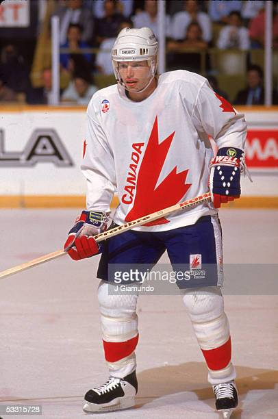 Canadian professional hockey player Larry Murphy, defenseman for Team Canada, on the ice during the 1991 Canada Cup, Canada, 1991.