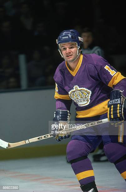 Canadian professional hockey player Marcel Dionne of the Los Angeles Kings in action during an away game late 1970s