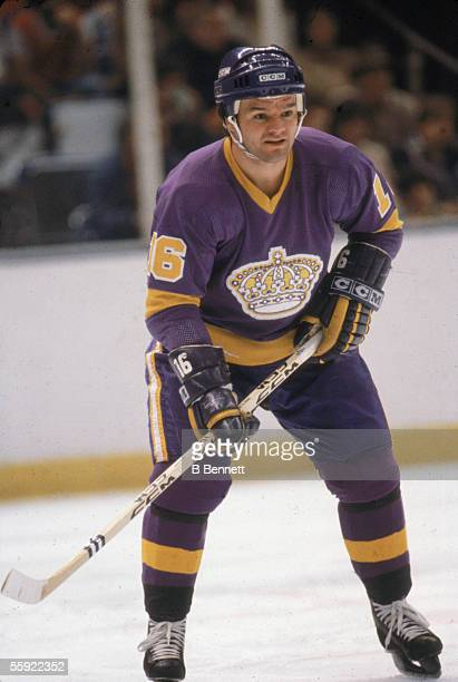 Canadian professional hockey player Marcel Dionne of the Los Angeles Kings waits for action on the ice during an away game 1980s