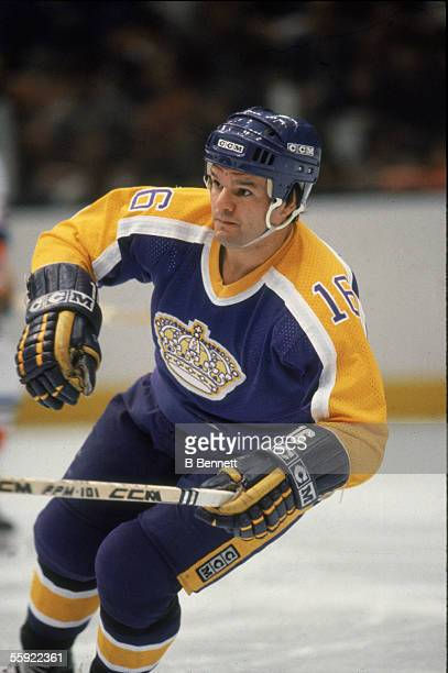 Canadian professional hockey player Marcel Dionne of the Los Angeles Kings in action during an away game 1980s