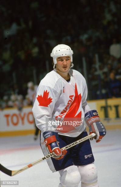 Canadian professional hockey player Mario Lemieux, center for the Pittsburgh Penguins, in action as a member of Team Canada on the ice during a game...