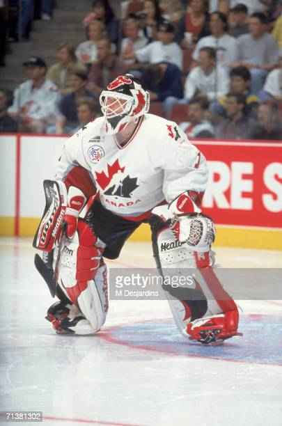 Canadian professional hockey player Martin Brodeur defends the goal for Team Canada during the World Cup of Hockey tournament 1996 The tournament...