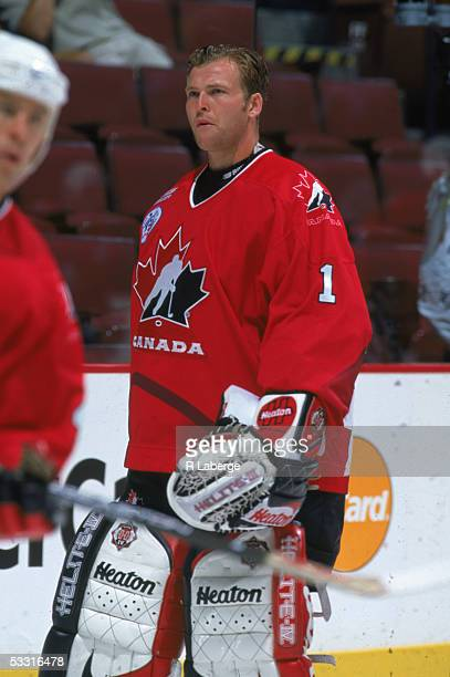 Canadian professional hockey player Martin Brodeur goalie for Team Canada on the ice during the 1996 World Cup of Hockey 1996