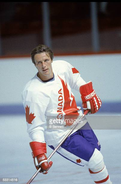 Canadian professional hockey player Mike Bossy forward for Team Canada on the ice during the 1984 Canada Cup Canada 1984