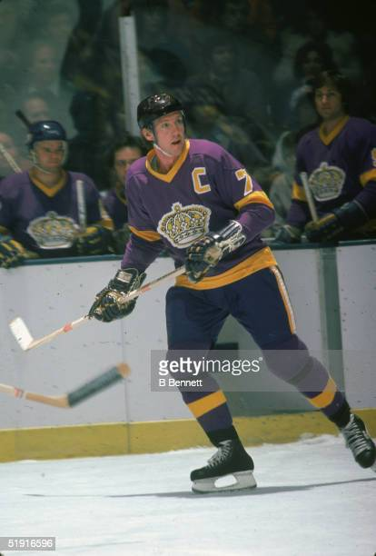 Canadian professional hockey player Mike Murphy forward of the Los Angeles Kings skates on the ice during an away game against the New York Islanders...