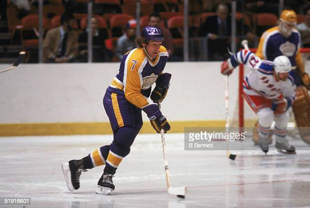 Canadian professional hockey player Mike Murphy forward of the Los Angeles Kings skates with the puck on the ice during an away game against the New...