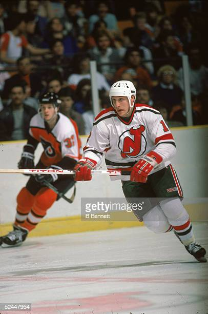 Canadian professional hockey player Pat Verbeek of the New Jersey Devils plays in a home game against the Philadephia Flyers March 1985