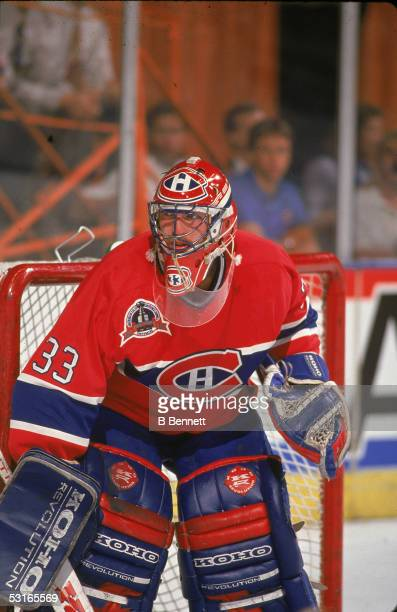 Canadian professional hockey player Patrick Roy goaltender for the Montreal Canadiens in game 4 of the Stanley Cup finals against the Los Angeles...