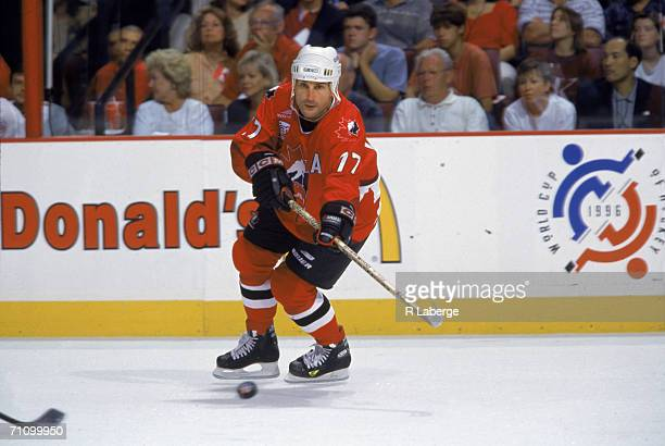 Canadian professional hockey player Paul Coffey, defense for the Philadelphia Flyers and member of Team Canada, follows the puck during a game of the...