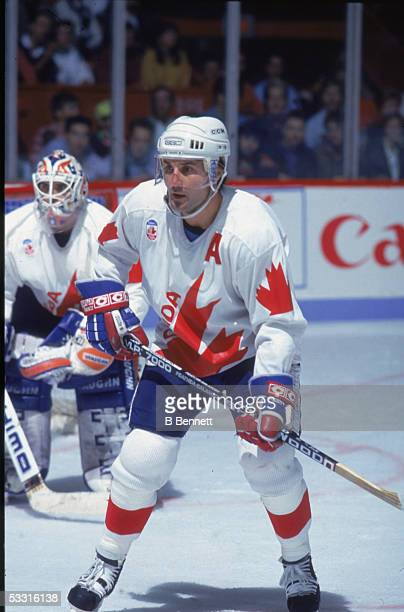 Canadian professional hockey player Paul Coffey, defenseman for Team Canada, on the ice during the 1991 Canada Cup, Canada, 1991.