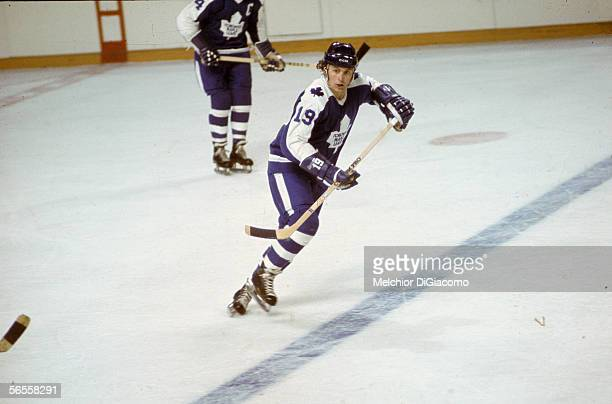 Canadian professional hockey player Paul Henderson right wing for the Toronto Maple Leafs in action during an away game early 1970s Leafs captain...