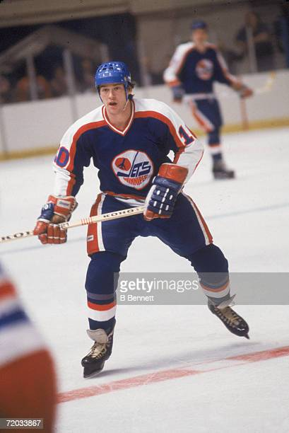Canadian professional hockey player Peter Sullivan, center for the Winnipeg Jets, on the ice during a game with the New York Rangers at Madison...