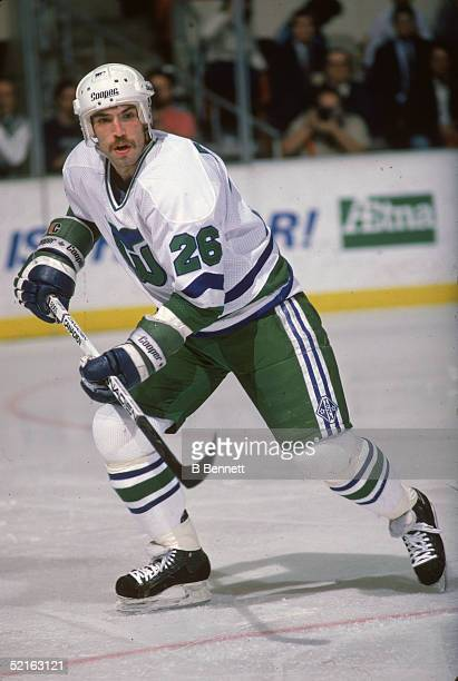 Canadian professional hockey player Ray Ferraro forward of the Hartford Whalers in action on the ice during a home game Hartford Civic Center...