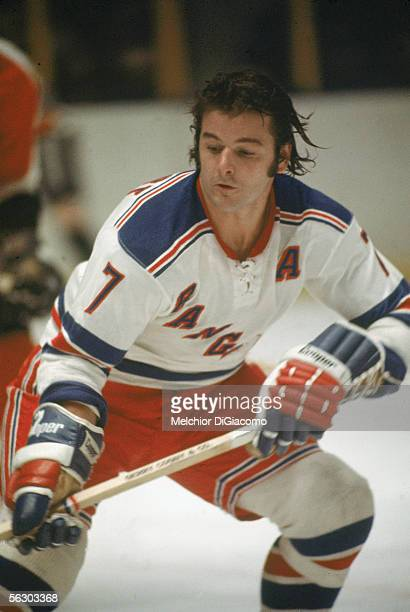 Canadian professional hockey player Rod Gilbert right wing for the New York Rangers on the ice during a game 1970s