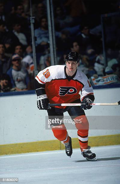 Canadian professional hockey player Todd Bergen of the Philadelphia Flyers skates on the ice against the New York Islanders at the Nassau Coliseum in...