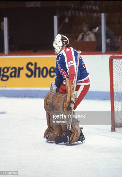 Canadian professional hockey player Tony Esposito goalie for the Chicago Blackhawks defends the goal at the 1981 Canada Cup September 1981
