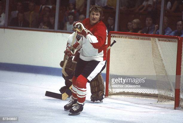 Canadian professional hockey player Vic Hadfield of Team Canada skates past the goal during the 1972 Summit Series against the Soviet Union September...