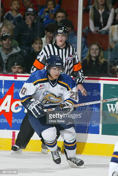 Canadian professional hockey player Wacey Rabbit of the Saskatoon Blades on the ice against the Vancouver Giants at Pacific Coliseum, Vancouver,...