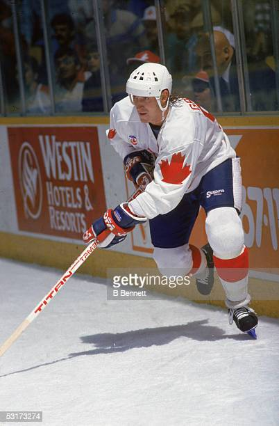 Canadian professional hockey player Wayne Gretzky, forward for Team Canada, skates near the boards during the Canada Cup, 1987.