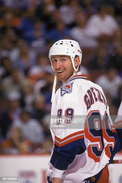 Canadian professional hockey player Wayne Gretzky forward of the New York Rangers smiles during a road game of the 199899 season