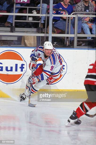 Canadian professional hockey player Wayne Gretzky forward of the New York Rangers skates on the ice during a home game against the New Jersey Devils...