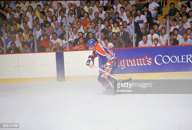 Canadian professional hockey player Wayne Gretzky of the Edmonton Oilers skates on the ice during game four of the Stanley Cup Championship finals...