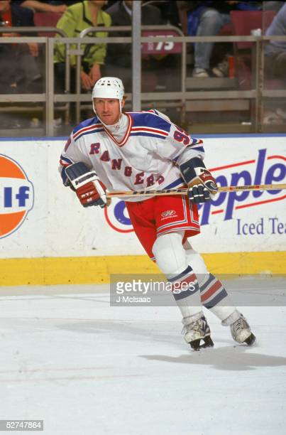 Canadian professional hockey player Wayne Gretzky of the New York Rangers skates during a game at Madison Square Garden New York New York late 1990s