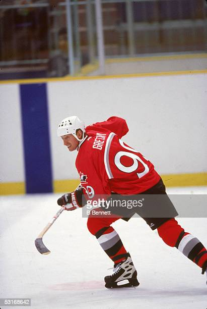 Canadian professional hockey player Wayne Gretzky skates on the ice for Canada during the Winter Olympic games February 1998 Nagano Japan