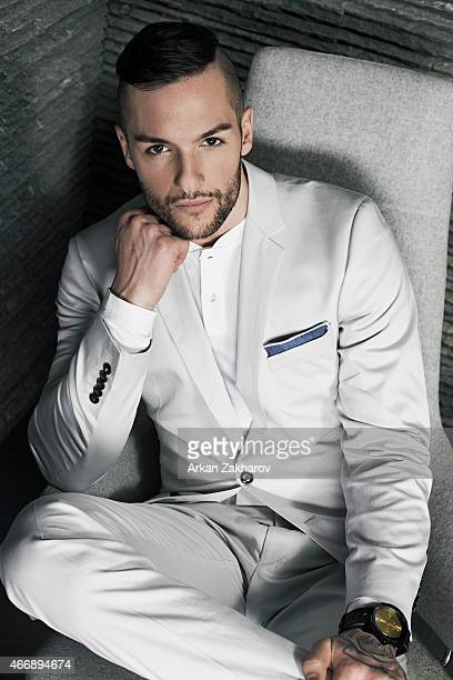Canadian professional ice hockey goaltender is photographed Jonathan Bernier for Elle Canada Man on January 30 2015 in Toronto Ontario Published Image