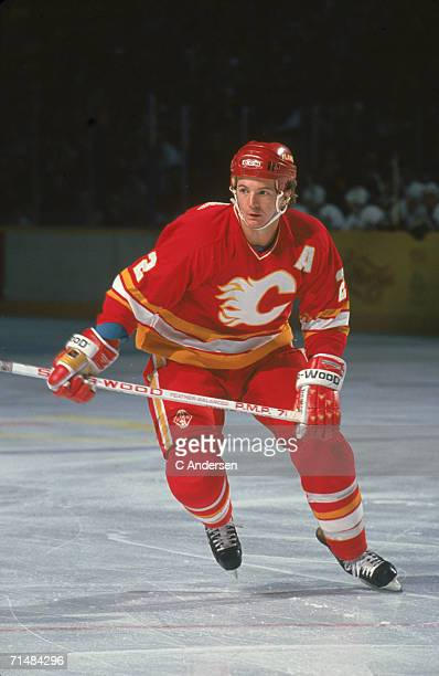 Canadian professional ice hockey player Al MacInnis of the Calgary Flames skates on the ice during an away game 1990s MacInnis played for the Flames...