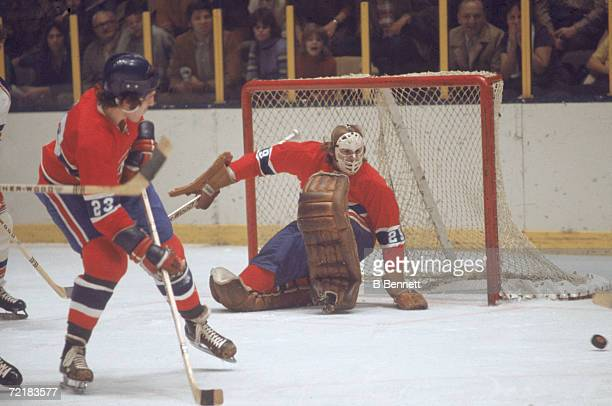 Canadian professional ice hockey player and later businessman lawyer author and politician Ken Dryden goalie of the Montreal Canadiens defends the...