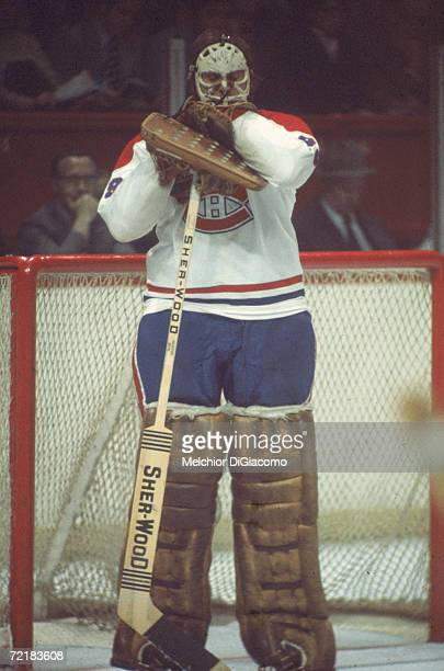 Canadian professional ice hockey player and later businessman, lawyer, author, and politician Ken Dryden, goalie of the Montreal Canadiens, leans on...