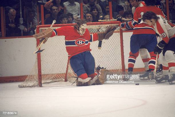 Canadian professional ice hockey player and later businessman, lawyer, author, and politician Ken Dryden , goalie of the Montreal Canadiens, prepares...