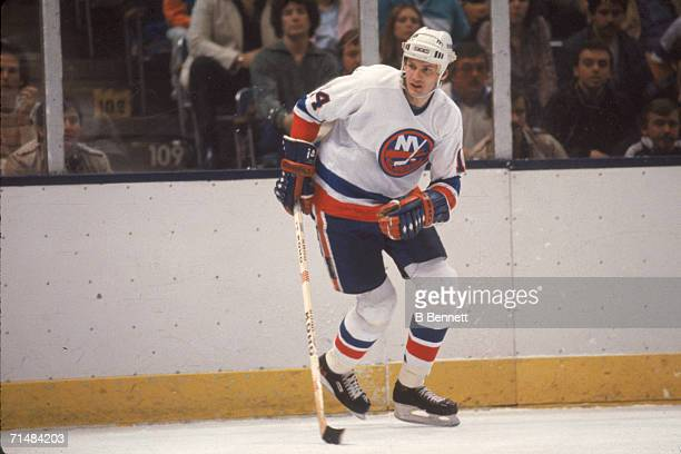 Canadian professional ice hockey player Bob Bourne of the New York Islanders skates on the ice during a home game Nassau Coliseum Uniondale New York...
