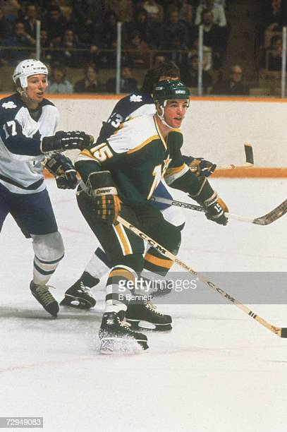 Canadian professional ice hockey player Bobby Smith of the Minnesota North Stars skates on the ice in an away game against the Toronto Maple Leafs...