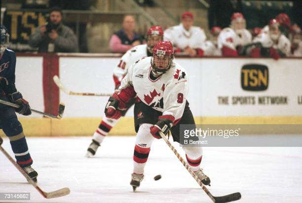 Canadian professional ice hockey player Christian Dube of Team Canada on the ice at the World Junior Ice Hockey Championships Switzerland 1997 Canada...