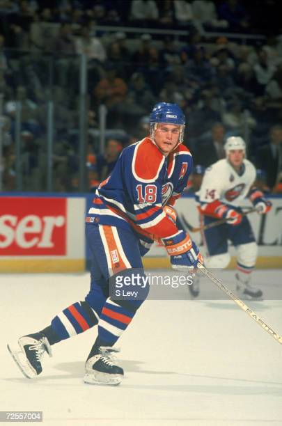 Canadian professional ice hockey player Craig Simpson of the Edmonton Oilers skates on the ice during a game against the New York Islanders Nassau...