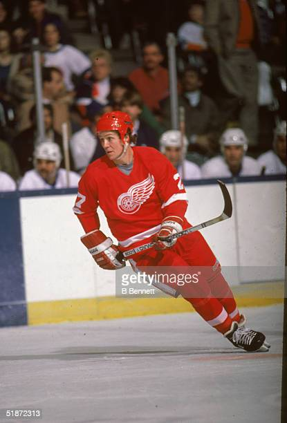 Canadian professional ice hockey player Darryl Sittler forward of the Detroit Red Wings on the ice during a game against the New York Islanders...
