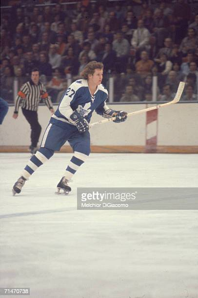 Canadian professional ice hockey player Darryl Sittler of the Toronto Maple Leafs skates on the ice during a road game 1970s Sittler played with...