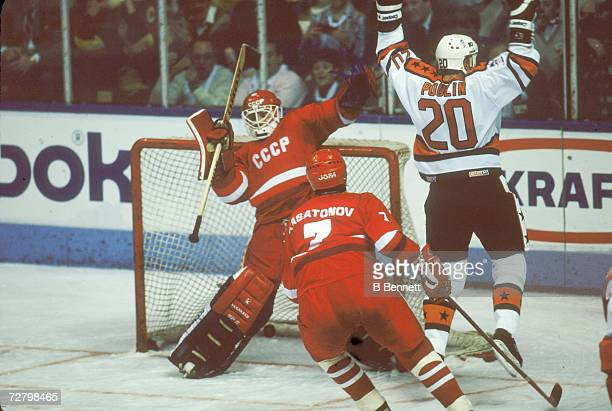 Canadian professional ice hockey player Dave Poulin scores the winning goal for Team NHL during Game One at the RendezVous '87 event between Team NHL...